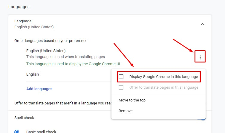 Display Google Chrome in this language