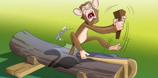 The-Monkey-and-The-Wedge-Story-In-Hindi