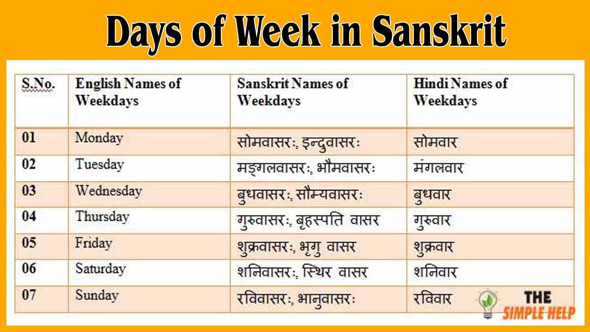 Name of Week Days in Sanskrit