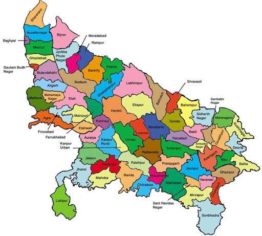 uttar pradesh map district wise