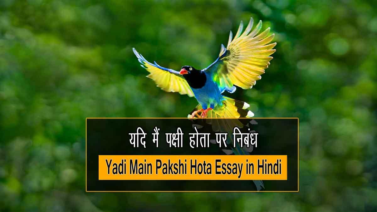 Yadi Main Pakshi Hota Essay in Hindi