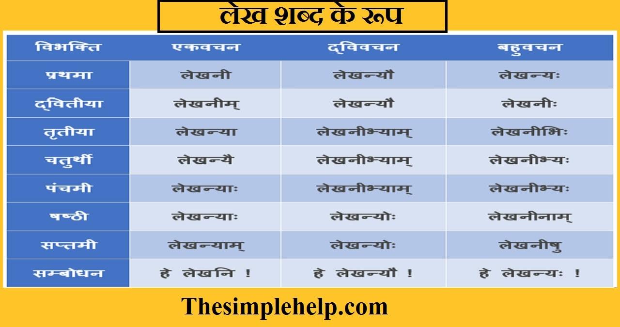 Lekh Shabd Roop in Sanskrit